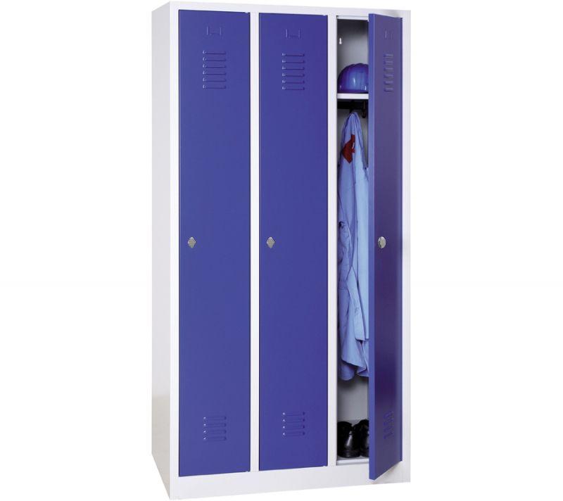 Vestiaire industrie propre monobloc 3 colonnes - H180 x L90 x P50 cm - gris/bleu