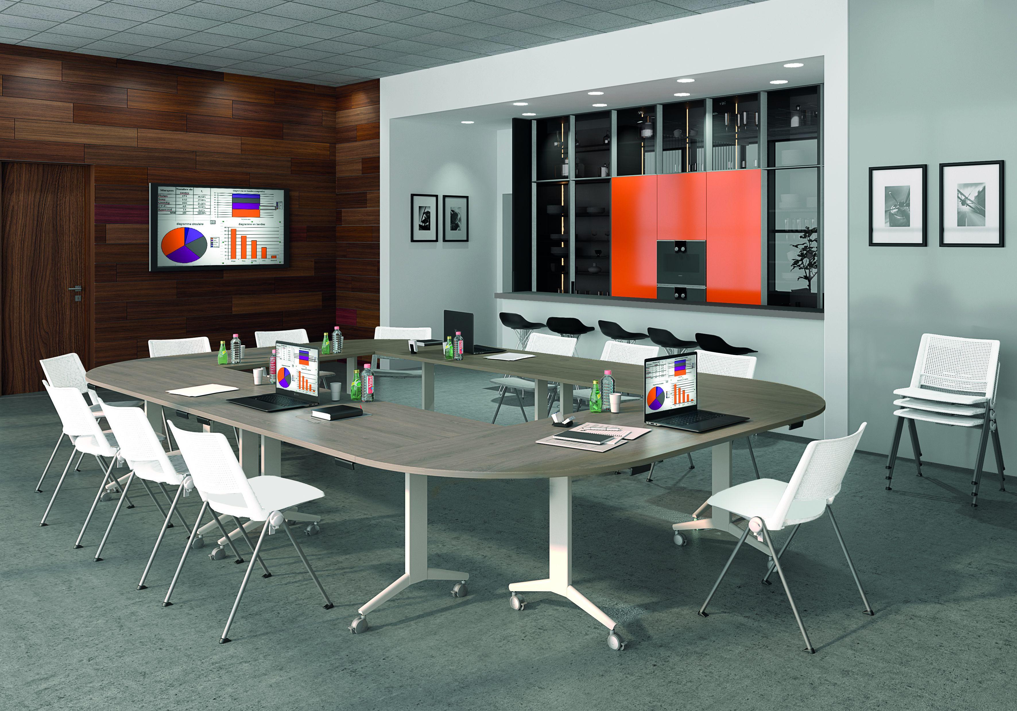 Table de réunion abattantes - L160 x P80 cm - pied blanc - plateau imitation hêtre
