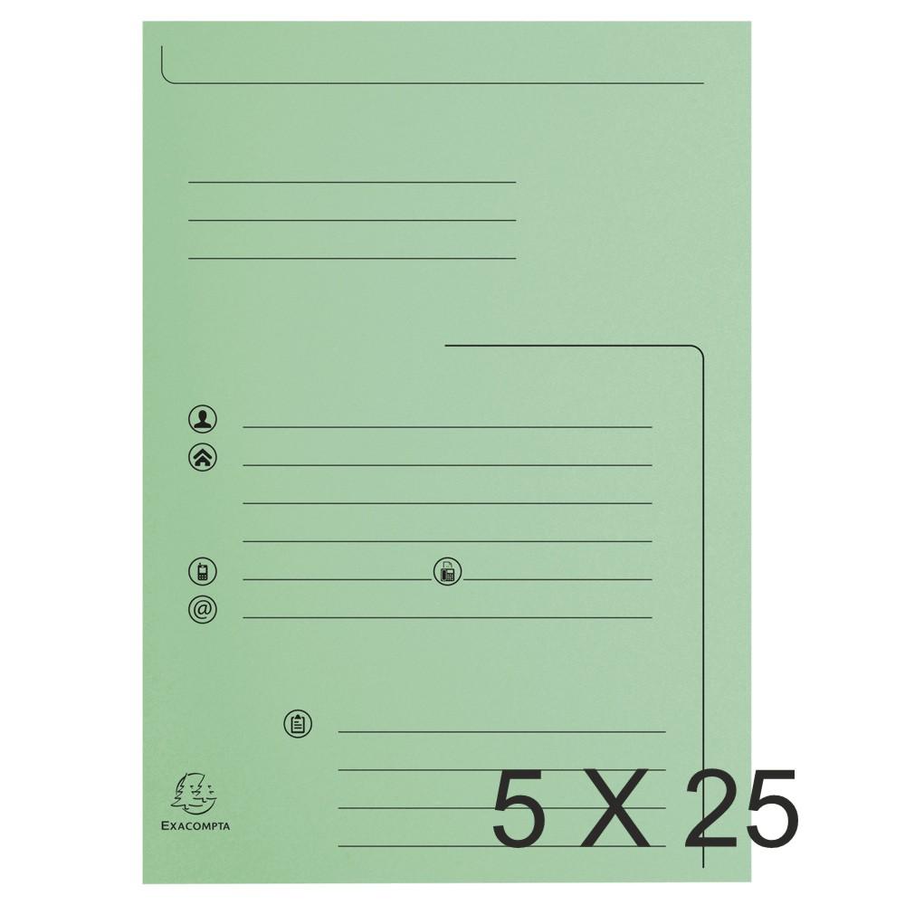Exacompta Super 210 - 5 Paquets de 25 Chemises imprimées 2 rabats - vert clair