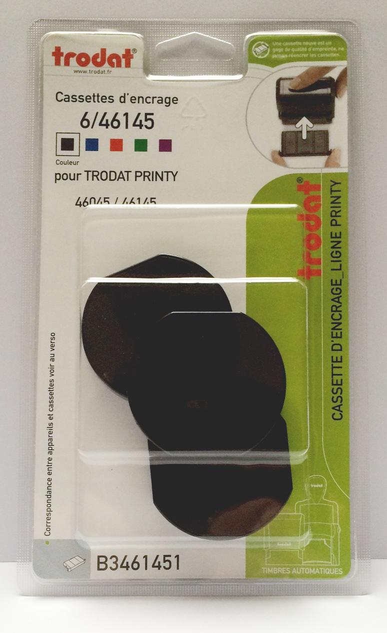 Trodat - 3 Encriers 6/46145 recharges pour tampon Printy 46145 - noir