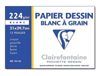 Clairefontaine Dessin à Grain - Pochette papier à dessin - 12 feuilles - A4 - 224 gr - blanc