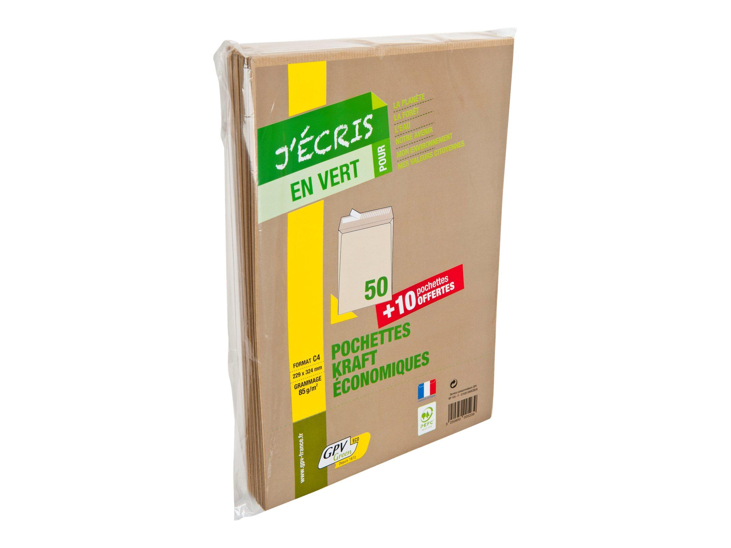 GPV Green - 50 Pochettes Enveloppes + 10 gratuites C4 229 x 324 mm - 90 gr - sans fenêtre - kraft - bande adhésive