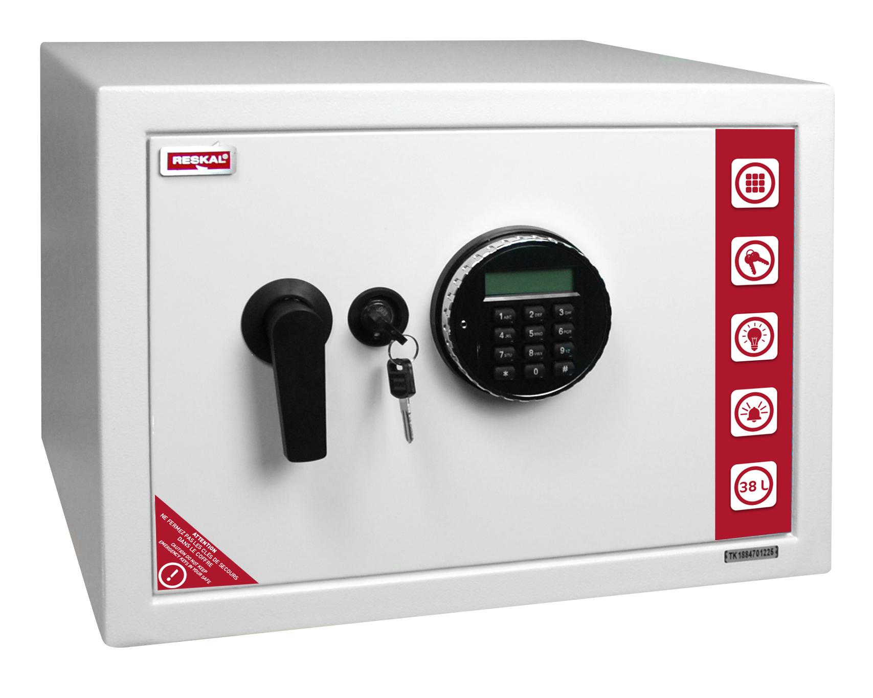 Reskal SE 3 Premium - Coffre-fort 38,5L à code - acier blanc