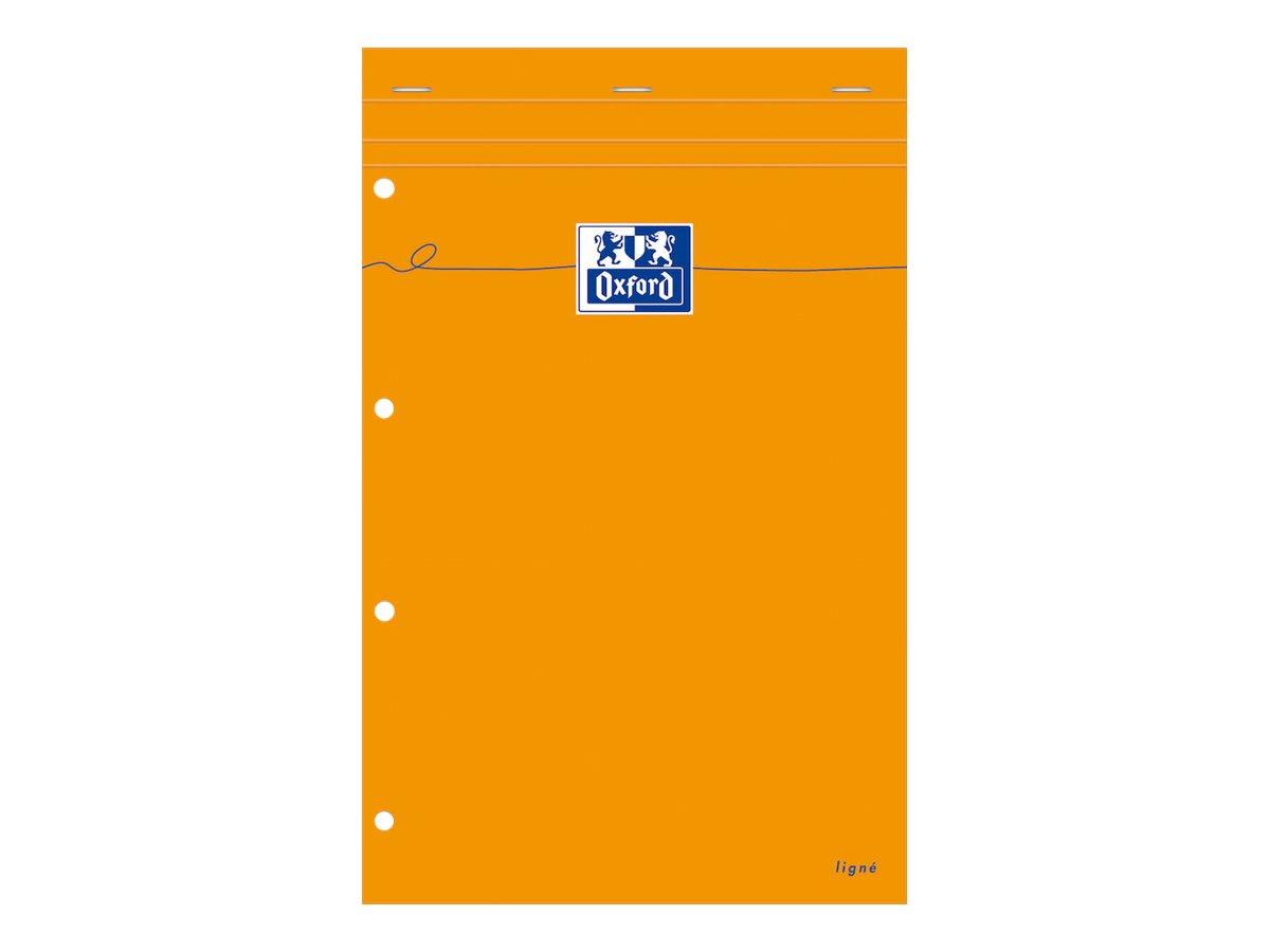 Oxford - Bloc notes - A4 + - 160 pages - ligné jaune - 80G - perforé - orange