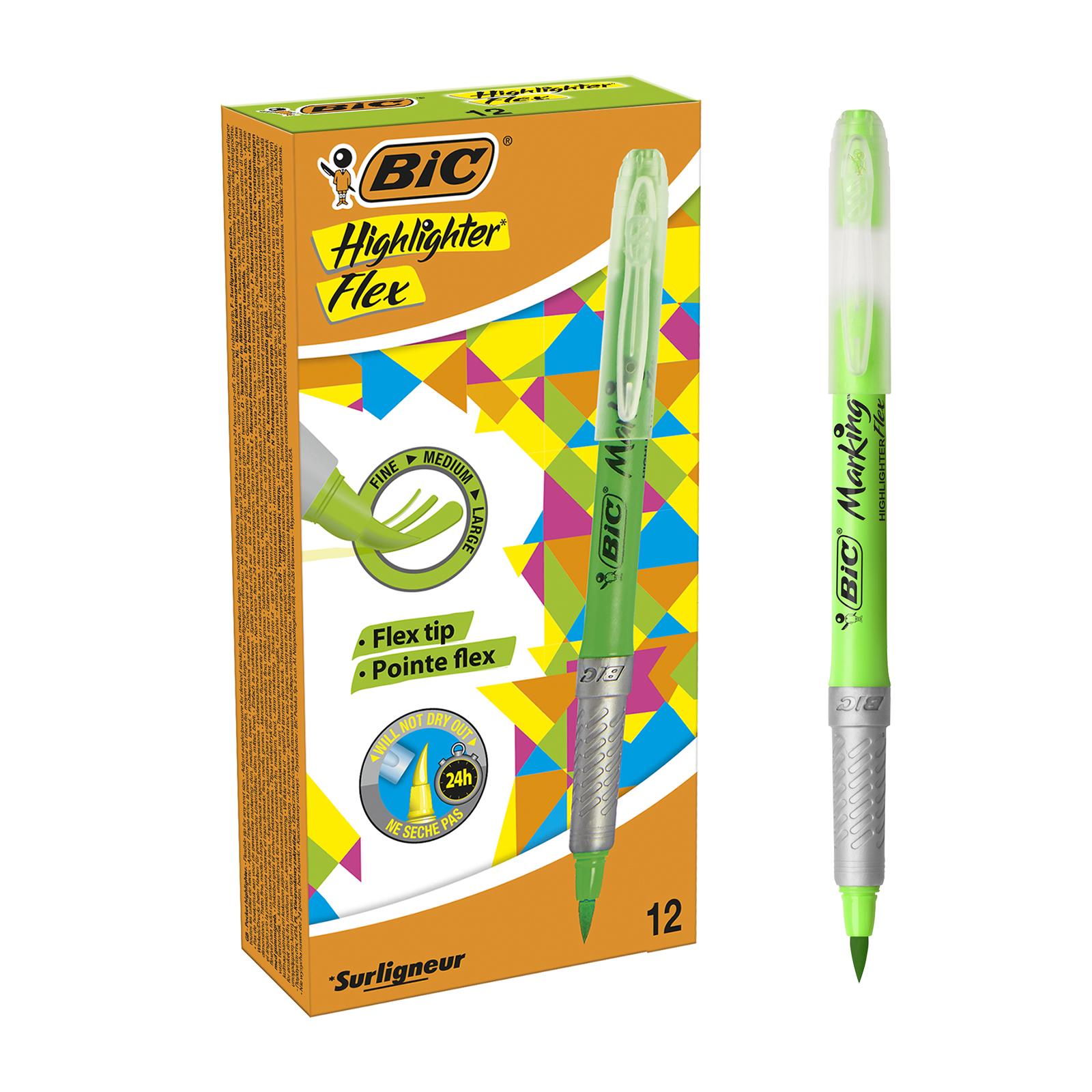 BIC Highlighter Flex - Pack de 12 surligneurs - vert
