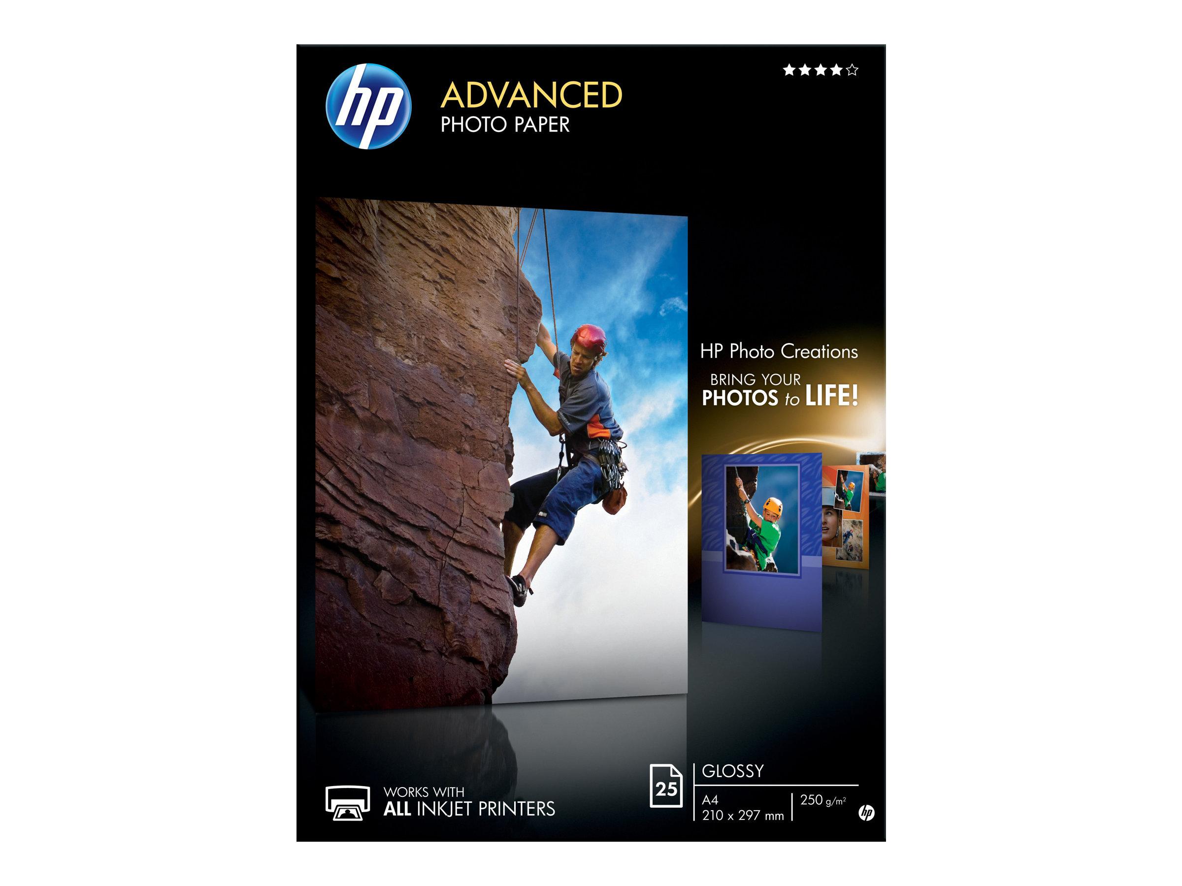 HP - Papier photo brillant - A4 - 250 g/m² - 25 feuilles