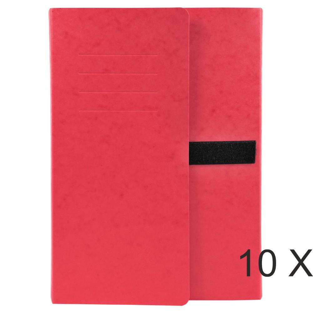 Exacompta - 10 Chemises extensibles 3 rabats à sangle - rouge