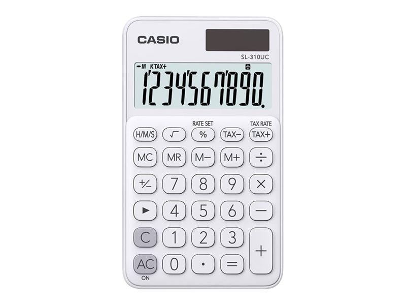Calculatrice de poche Casio SL-310UC - 10 chiffres - alimentation batterie et solaire - blanc
