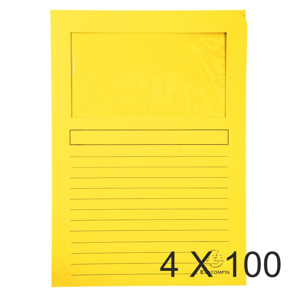 Exacompta Super 160 - 4 Paquets de 100 Chemises à fenêtre - 160 gr - jaune canari