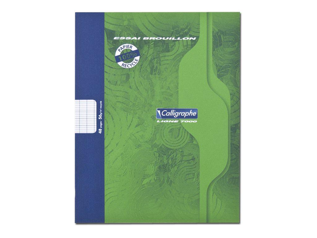 Calligraphe7000 - Cahier de brouillon - 17 x 22 cm - 48 pages - grands carreaux (Seyes)