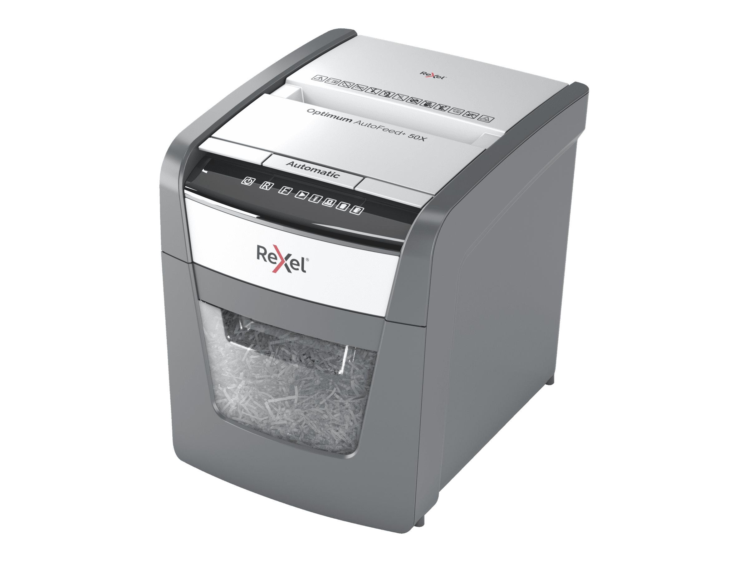 Rexel AutoFeed+ 50X - destructeur de documents coupe croisée - 50 feuilles - Corbeille 20 litres