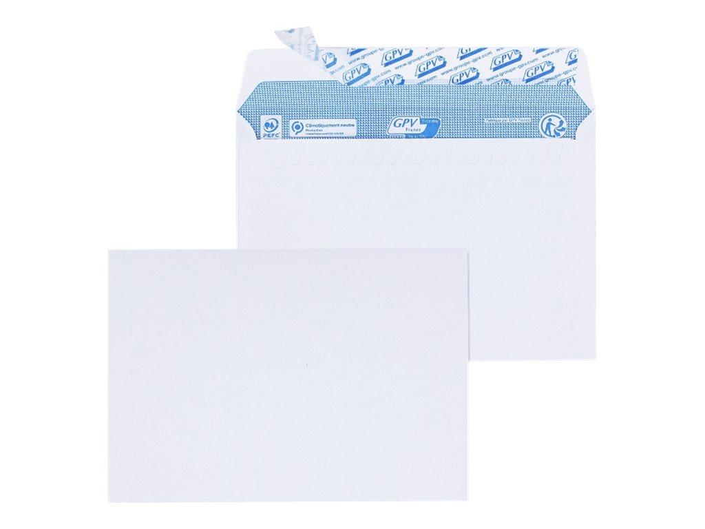 GPV - 200 Enveloppes C6 114 x 162 mm - 90 gr - sans fenêtre - blanc - bande adhésive ouverture rapide