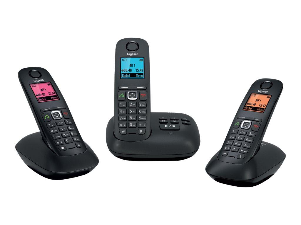 Gigaset A540 Trio - téléphone sans fil + 2 combinés supplémentaires - noir