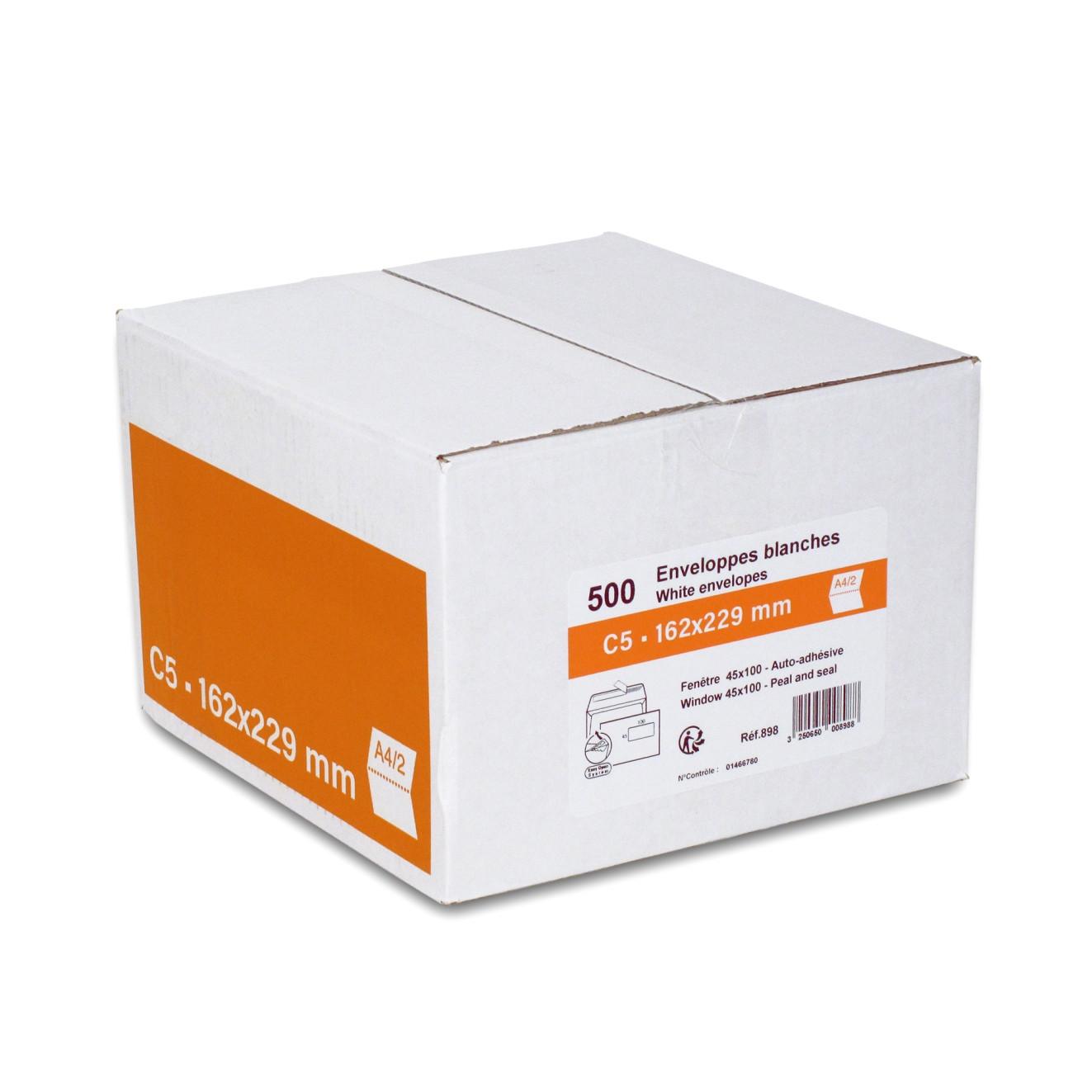 GPV - 500 Enveloppes C5 162 x 229 mm - 80 gr - fenêtre 45x100 mm - blanc - bande adhésive