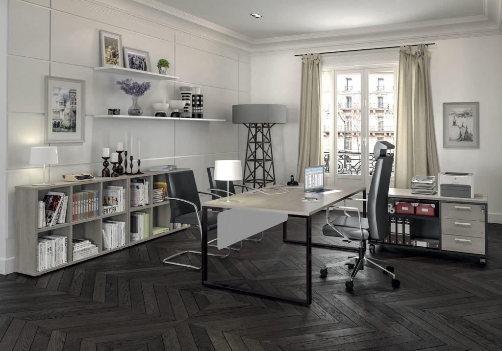 Bureau URBAN Manager - L180 x P100 x H72,5 cm - pieds carbone - plateau imitation chêne gris