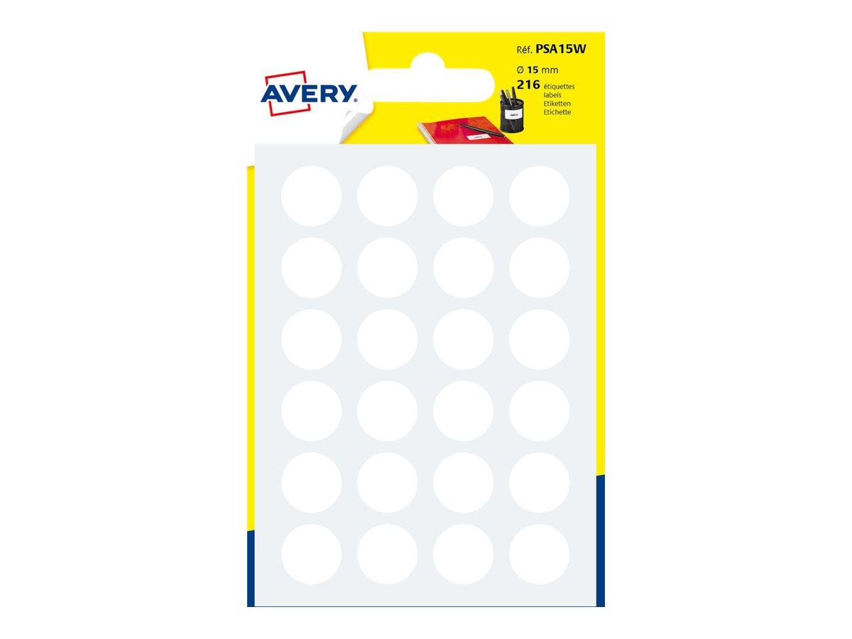 Avery - 216 Pastilles adhésives - blanc - diamètre 15 mm