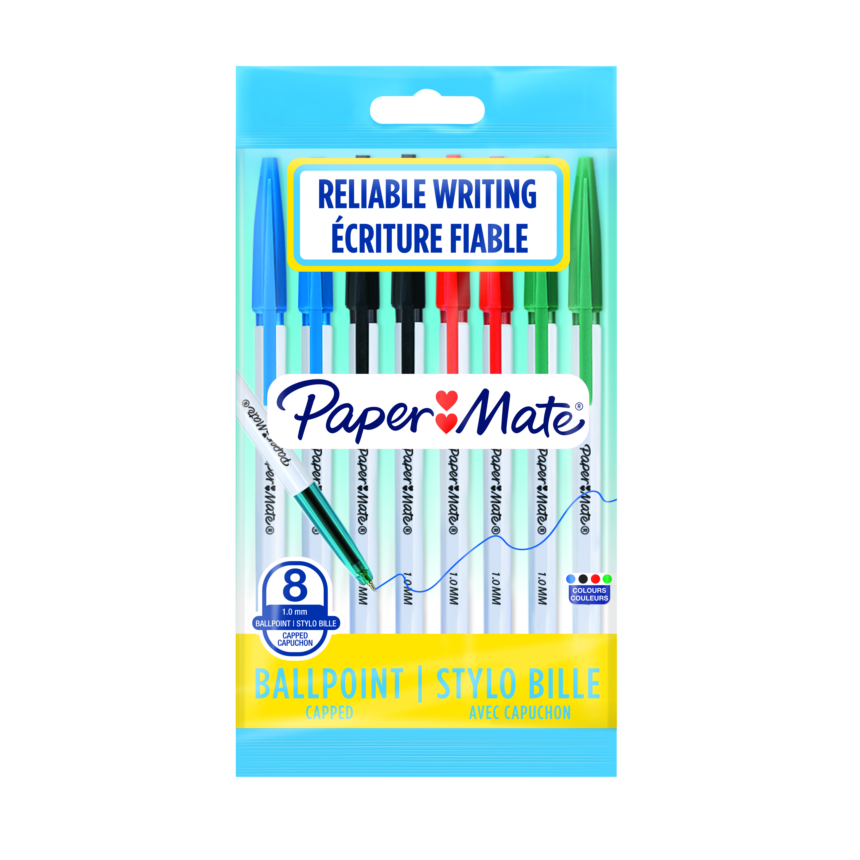 Paper Mate - Pack de 8 - stylos à bille 045 - couleurs assorties