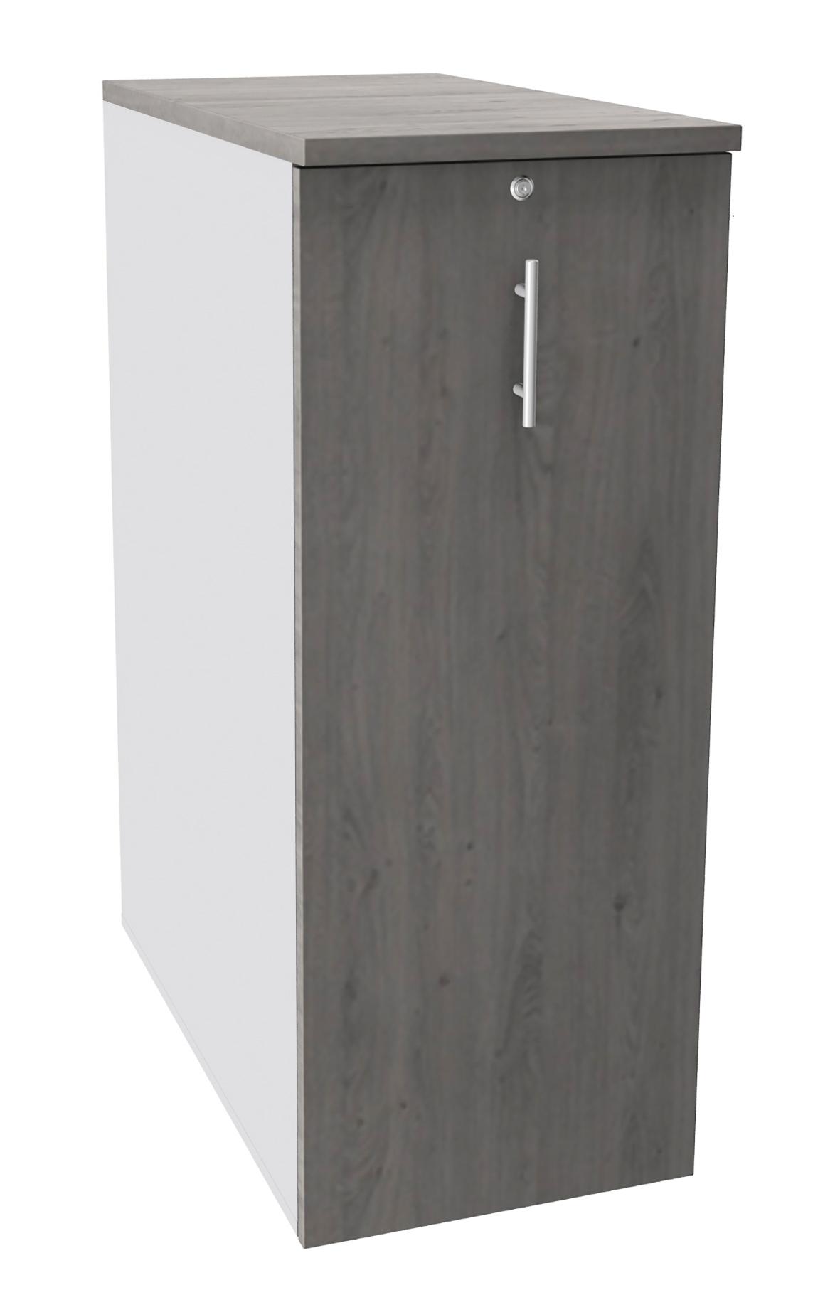 Caisson TOWER - L44 x H114 x P80 cm - 3 tablettes + 1 support DS réglable - structure blanc perle - dessus et façade imitation chêne gris