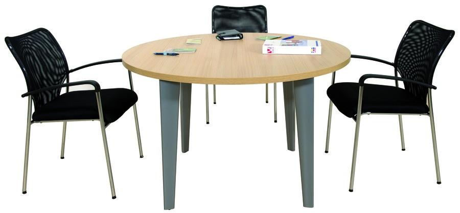 Table de réunion ronde EVIDENCE - 120 cm - Pieds aluminium - Plateau imitation chêne clair