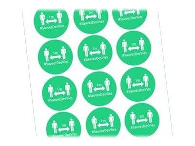 Avery - 24 Badges adhésifs ronds - distanciation sociale - verts