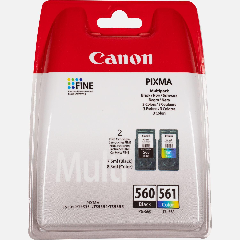 Canon PG-560 / CL-561 - pack de 2 - noir, cyan, magenta, jaune - cartouche d'encre originale