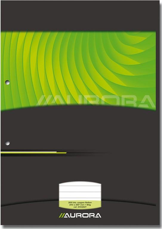 Aurora - Bloc de cours A4 - ligné + marge - 200 pages - perforation 2 trous - 90g