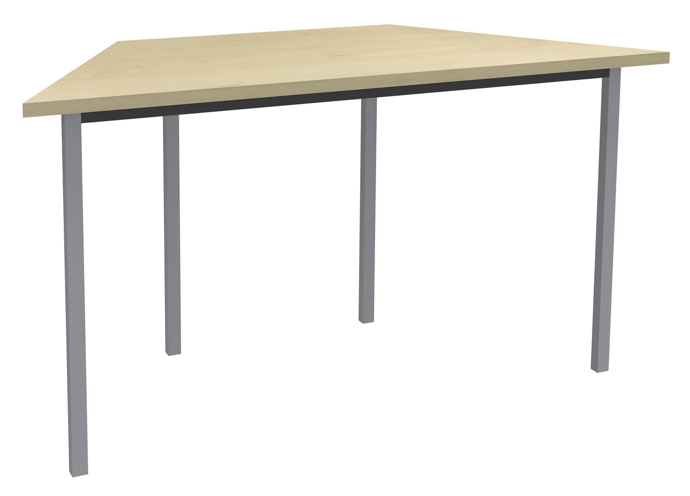 Table de réunion Trapèze - 120 x 60 cm - Pieds aluminium - imitation Erable