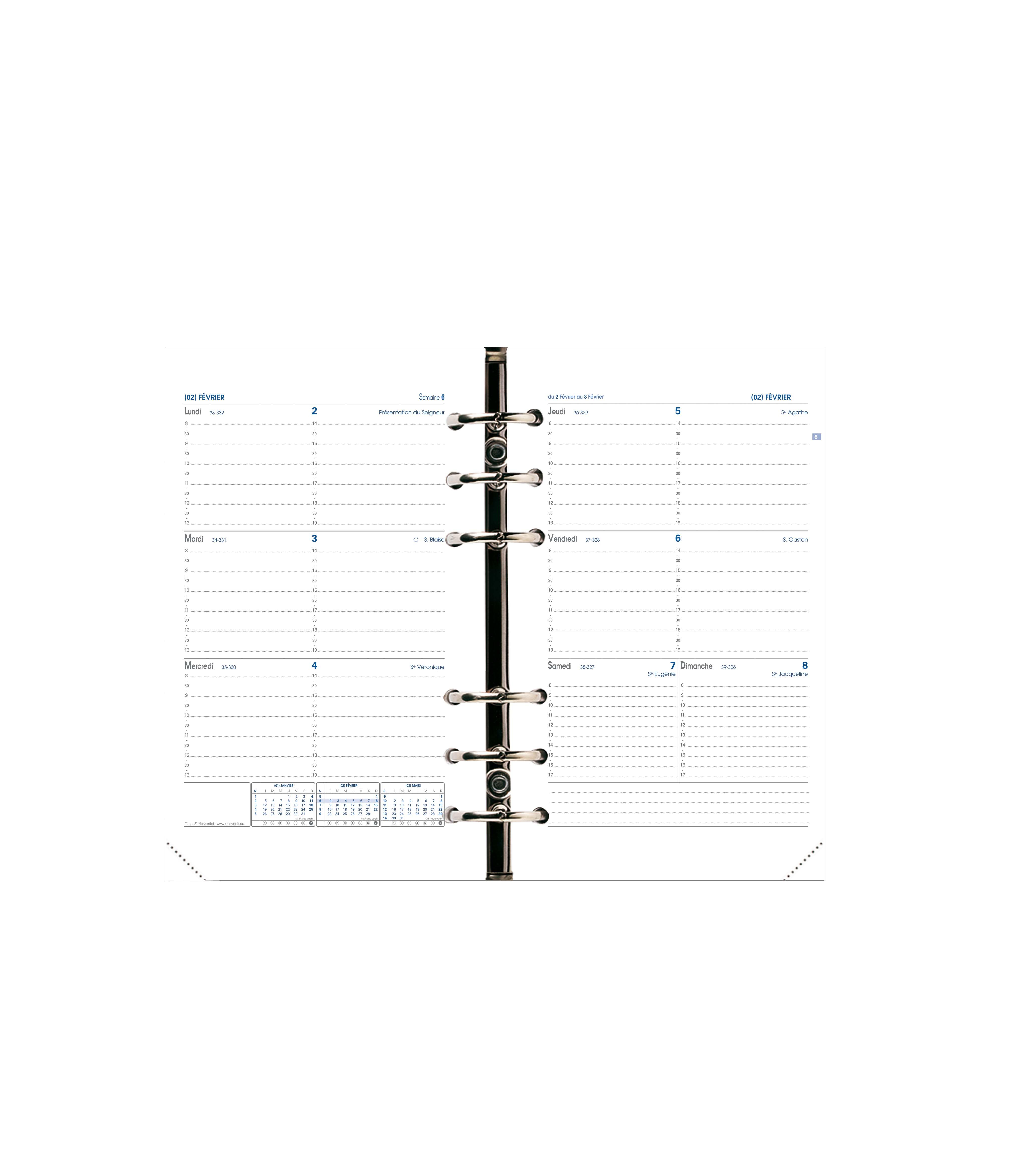 Recharge pour organiseur Timer 21 Horizontal - 1 semaine sur 2 pages - 15 x 21 cm - Quo Vadis