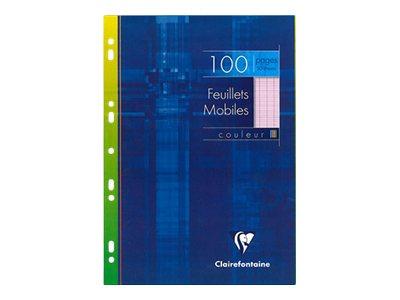 Clairefontaine - 100 feuilles simples A4 - grands carreaux - perforées - rose