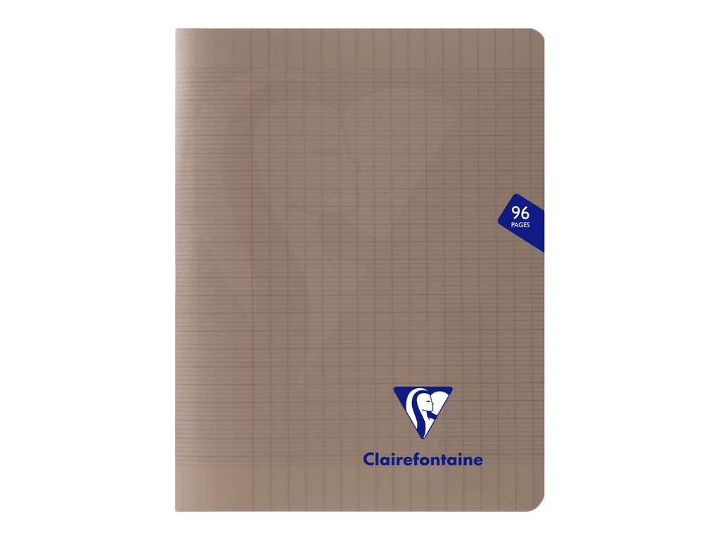 Clairefontaine Mimesys - Cahier polypro 17 x 22 cm - 96 pages - grands carreaux (Seyes) - gris