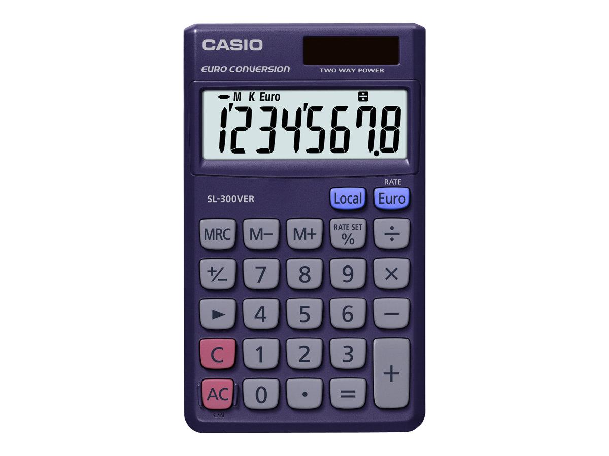 Calculatrice de poche Casio SL-300VER - 8 chiffres - alimentation batterie et solaire