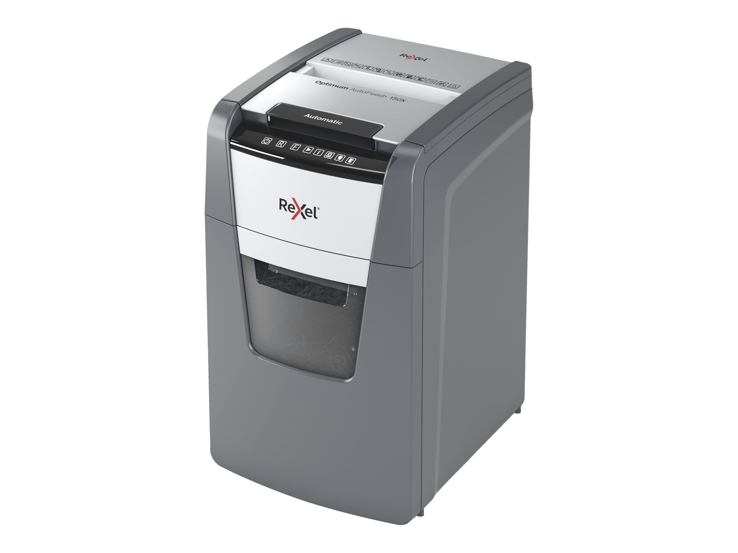 Rexel AutoFeed+ 150X - destructeur de documents coupe croisée - 150 feuilles - Corbeille 44 litres