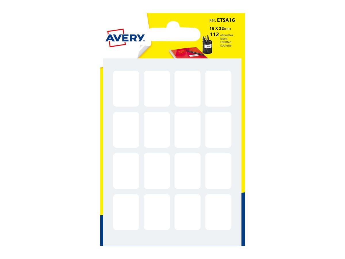 Avery - 112 Étiquettes multi-usages blanches - 16 x 22 mm - réf ETSA16