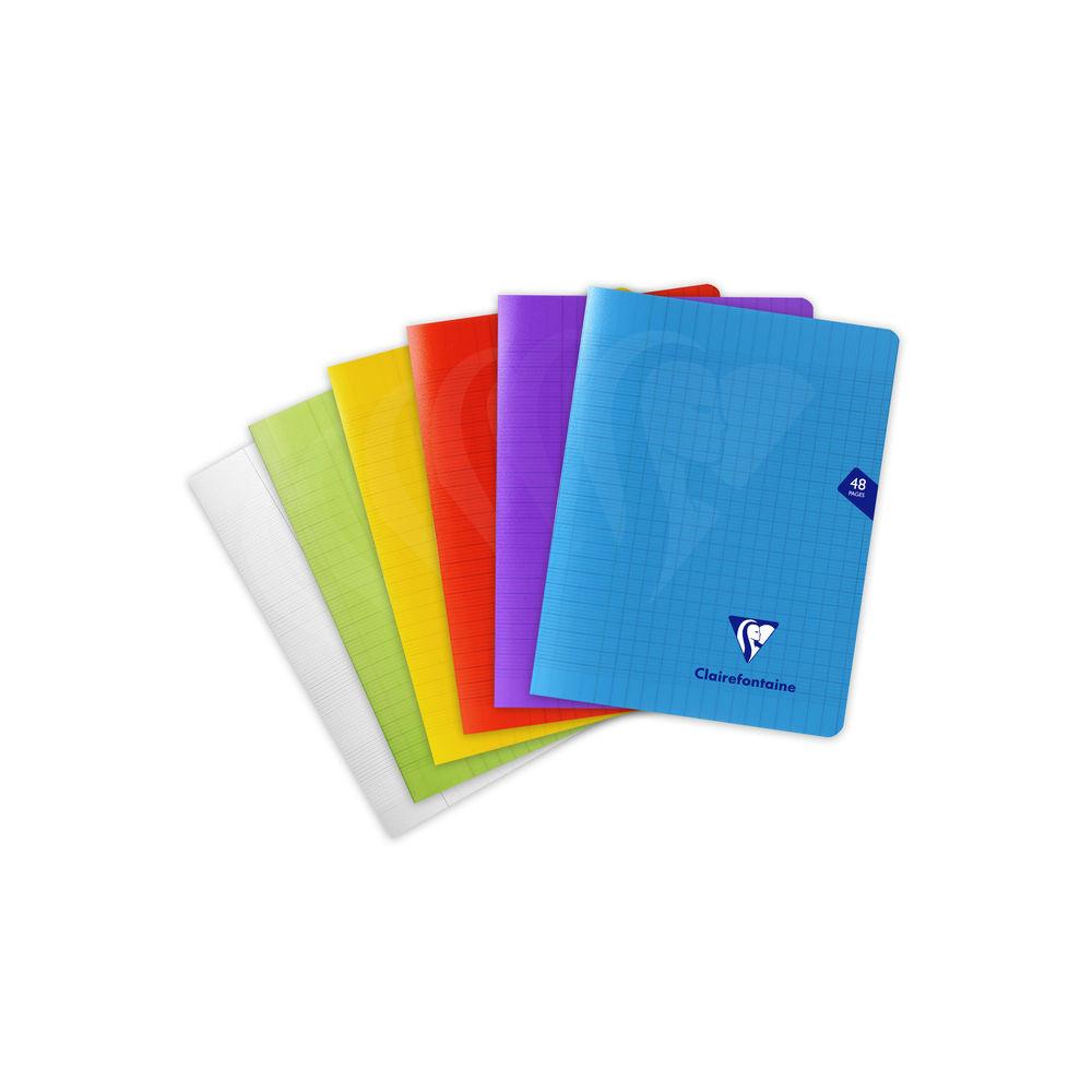 Clairefontaine Mimesys - Cahier polypro 17 x 22 cm - 48 pages - grands carreaux (Seyes) - disponible dans différentes couleurs