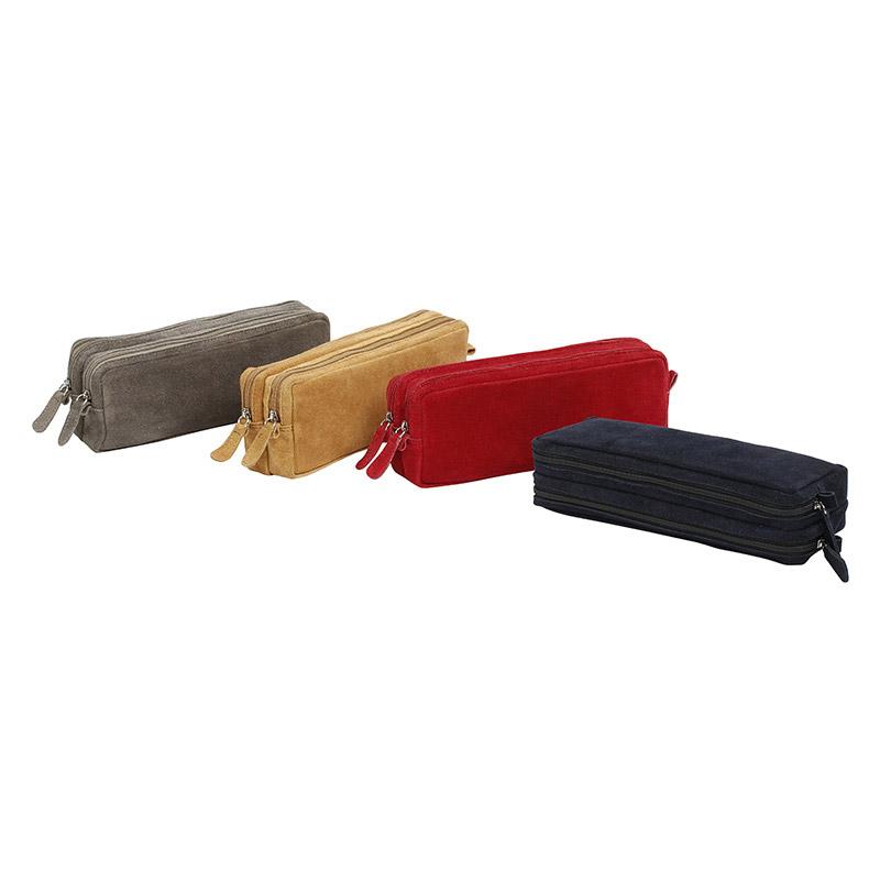 Trousse rectangulaire en cuir Milan - 2 compartiments - 4 coloris disponibles - Viquel