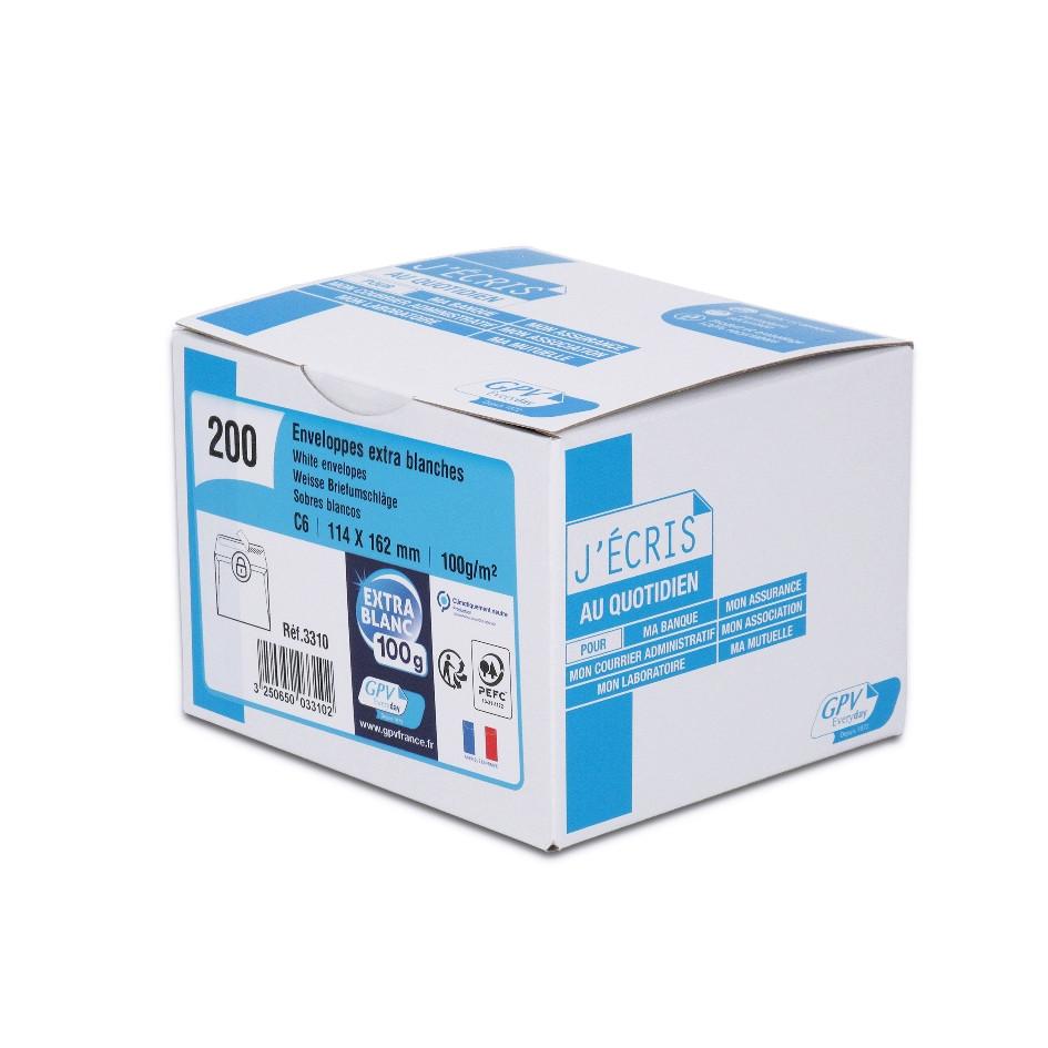 GPV - 200 Enveloppes C6 114 x 162 mm - 100 gr - sans fenêtre - blanc - bande adhésive