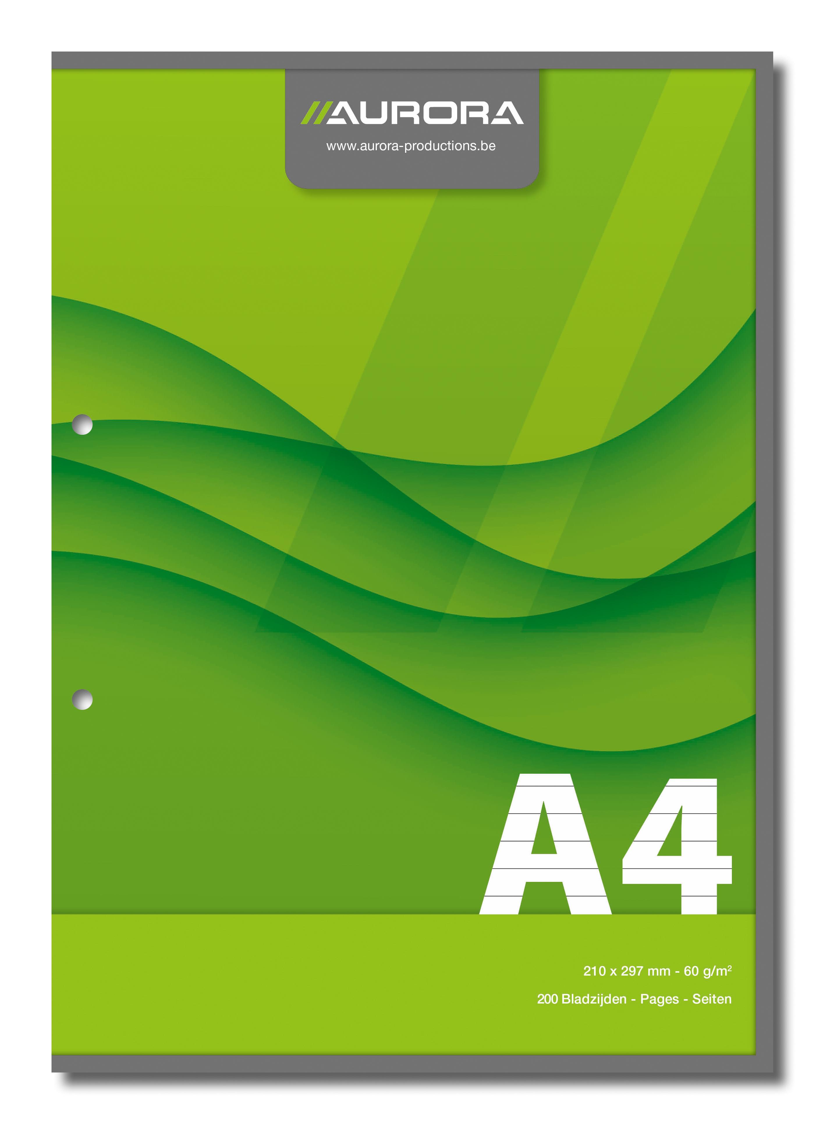 Aurora - Bloc de cours A4 - ligné + marge - 200 pages - perforation 2 trous - 60g