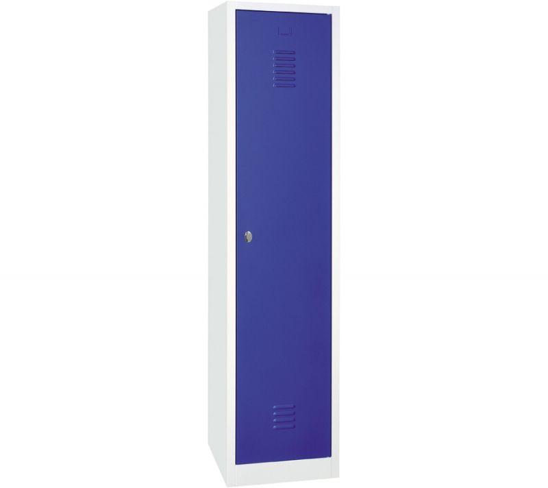 Vestiaire industrie salissante monobloc 1 colonne - H180 x L40 x P50 cm - gris/bleu