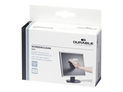 Durable Screenclean DUO - boite de 20 pochettes nettoyantes (10 sèches + 10 humides) pour écran