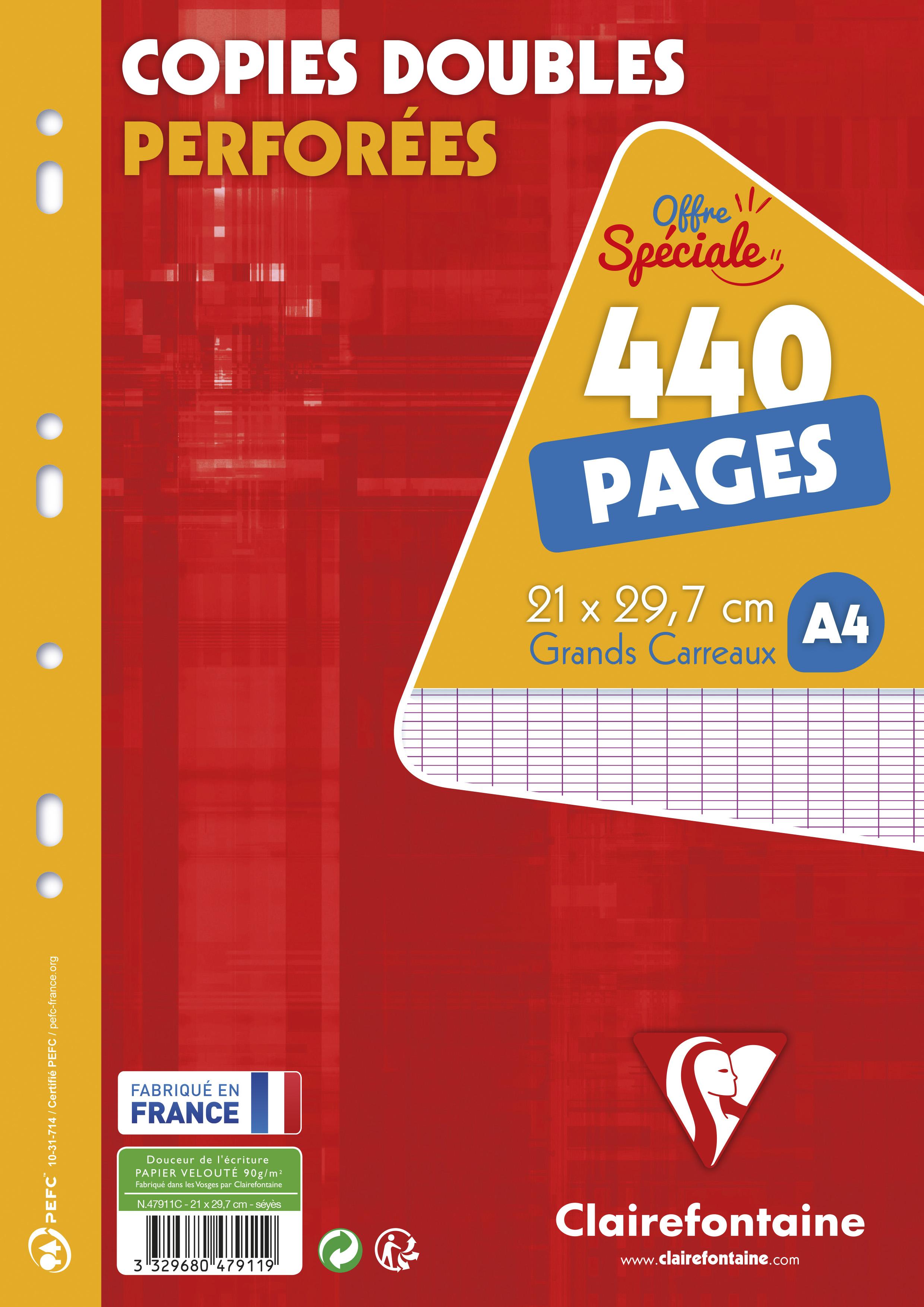 Clairefontaine - 440 copies doubles A4 - grands carreaux (Seyes) - perforées