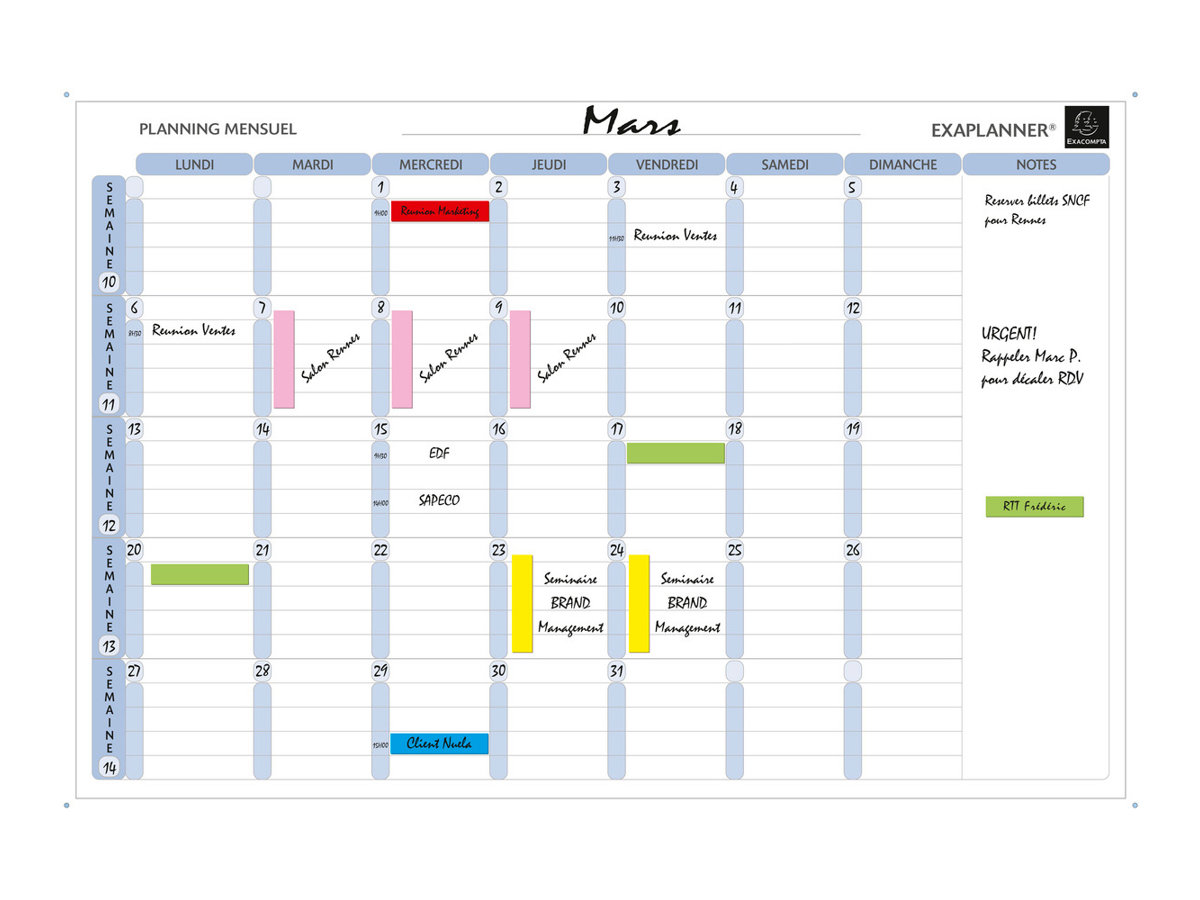 Exacompta - Planning mensuel magnétique - effaçable à sec - 90 x 59 cm