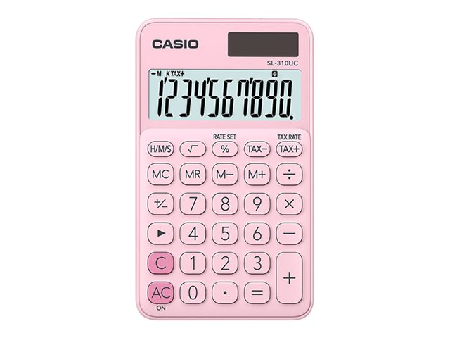 Calculatrice de poche Casio SL-310UC - 10 chiffres - alimentation batterie et solaire - rose