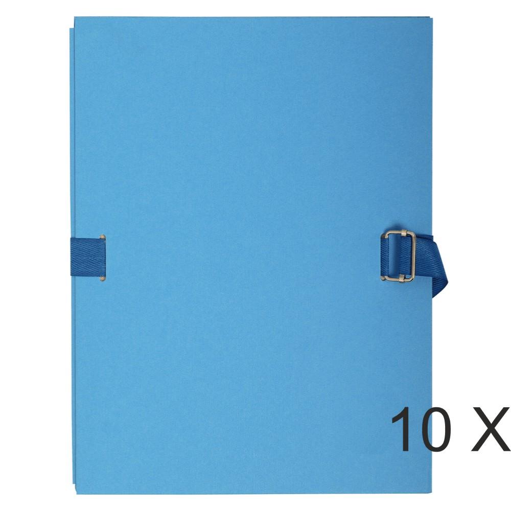 Exacompta - 10 Chemises extensibles à sangle avec rabat papier - bleu clair