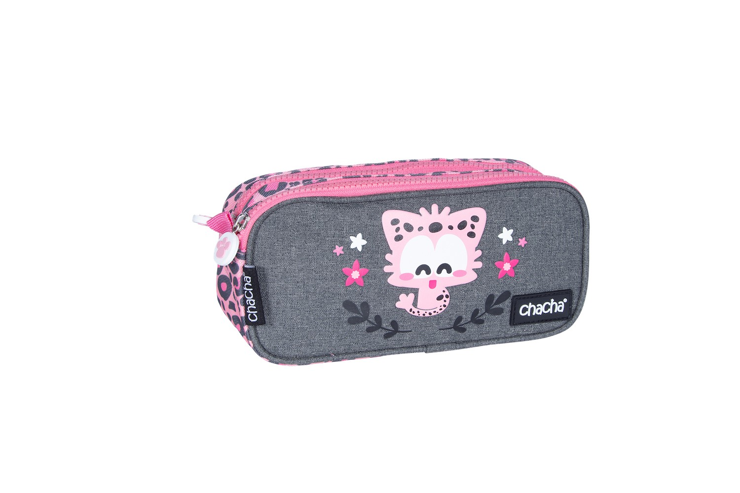 Trousse rectangulaire CHACHA Leo - 2 compartiments - rose - Kid'Abord