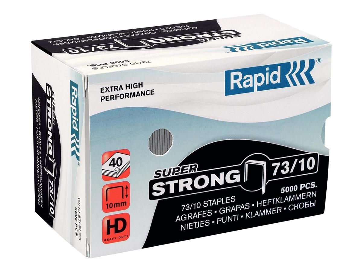 Rapid - Boîte de 5000 Agrafes Super Strong 73/10 - jusqu'à 40 feuilles - acier galvanisé