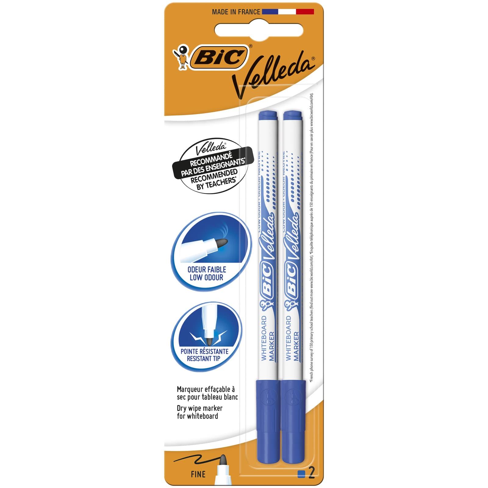BIC VELLEDA 1721 - Pack de 2 marqueurs effaçables - pointe fine - bleu