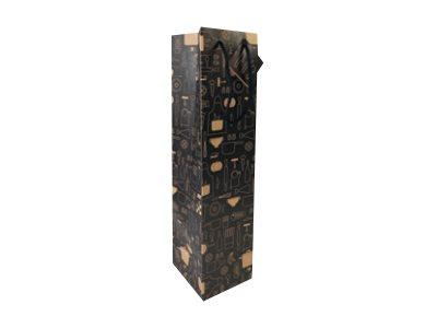 Clairefontaine - Sac cadeau kraft pour bouteille - 10 cm x 10 cm x 40 cm - différents motifs pictos