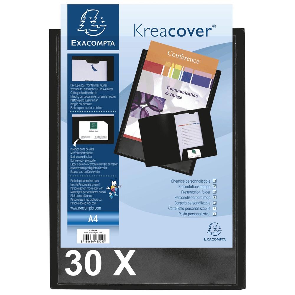 Exacompta Kreacover - 30 Chemises de présentation personnalisables - A4 - noir