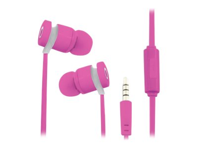 TX Kit main libre - Ecouteurs filaire avec micro - intra-auriculaire - rose
