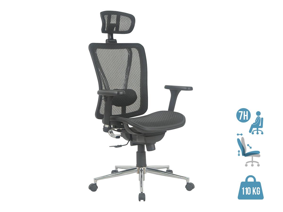 Fauteuil de bureau ergonomique UPSILON - accoudoirs réglables - appuie-tête réglable - noir